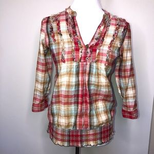 Maurices  Plaid Pullover Blouse Rolltab Sleeves